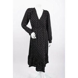 Zara Womens Midi Flowy Dress M Black White Polka